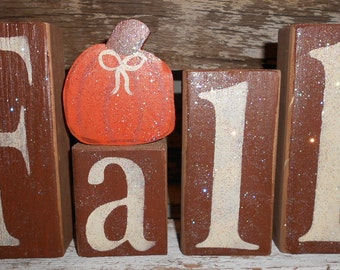 Fall Wood Glitter Blocks Fall Shelf Sitter With Fall Pumpkin Brown Fall Pumpkin Decoration Personalized Blocks