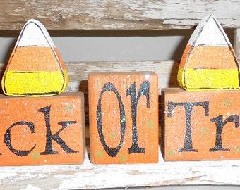 Trick Or Treat Halloween Wood Glitter Blocks Shelf Sitter Glitter Blocks Orange Candy Corns Halloween Decoration Wood Personalized Blocks