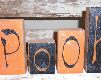 Spooky Blocks Halloween Black & Orange Set of Six Wood Spooky Glitter Halloween Blocks