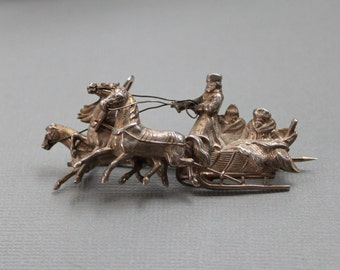 RARE 1800s Russian Silver Troika Brooch / Antique Imperial Russian Jewelry / Cossack Sleigh / Hallmarked