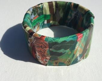 Eye of the Tiger Upcycled Magazine Bangle Bracelet