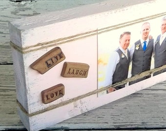 Rustic Wood Photo Display, Reclaimed Wood Block Photo Frame, Live Laugh Love Home Decor, Wedding Gift, InspirationalTypography, Custom Color