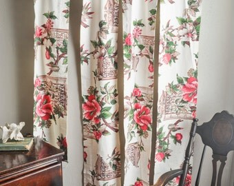 "Vintage Barkcloth Curtain Panels - Four Pieces 10"" wide Pink Hibicus and Brown Ornate Window Orlando Pattern"