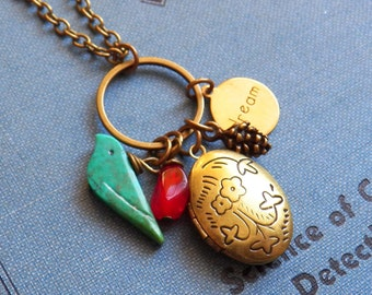 Distant Friends - Lovable Bird Charm Necklace - Floral Oval Locket - Antiqued Brass,  HoneyNest Jewelry