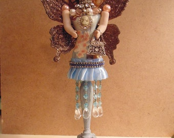 CLEARANCE !! Patience Shopping Angel Assemblage Art Doll Shabby Chic Mixed Media Assemblage Art