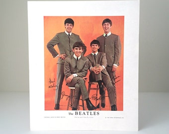 1964 Beatles Nems Lithograph Print - Vintage 12 x 10 Litho - Louis F. Dow Co. USA - Beatles Collectible Print