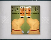 FREE Custom PERSONALIZED Double Dog Golden Retriever BREWING Company Stretched Canvas Signed