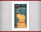 FREE Custom Personalized GOLDEN RETRIEVER Dog Winery Cellars Vineyard Wine  giclee print  Signed