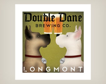 Personalize Customizable -  Double Dog Great Dane Brewing Company graphic art  print SIGNED Black Dog Ryan Fowler Native Vermont