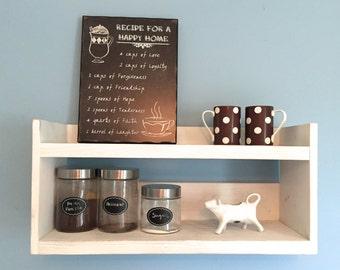 Rustic kitchen shelf, coffee shelf, white kitchen shelf, reclaimed wood, farmhouse decor, wooden shelf, coffee bar, kitchen storage
