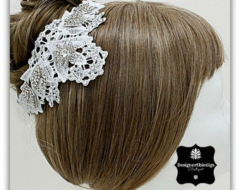 Silver Rhinestone and Lace Hair Pin Bridal Headpiece OW