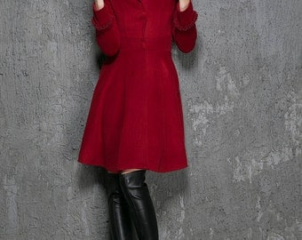 hooded jacket, Winter coat, red coat, Wool Coat, fit and flare coat, dress coat,cashmere jacket,mod clothing,custom made, gift ideas  1354