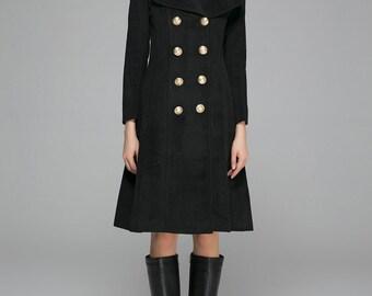 Pea coat, steampunk coat, double breasted coat, military coat, black coat, knee length coat, wool coat, street fashion, womens jacket (1370)