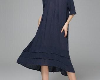 house dress, loose fit dress, Blue Dress, Linen Dress, Womens Dresses, Maxi Long dress, Prom Dress, Maxi Dress, oversized dress, Gift  1400
