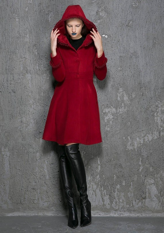 hooded jacket Winter coat red coat Wool Coat fit and flare