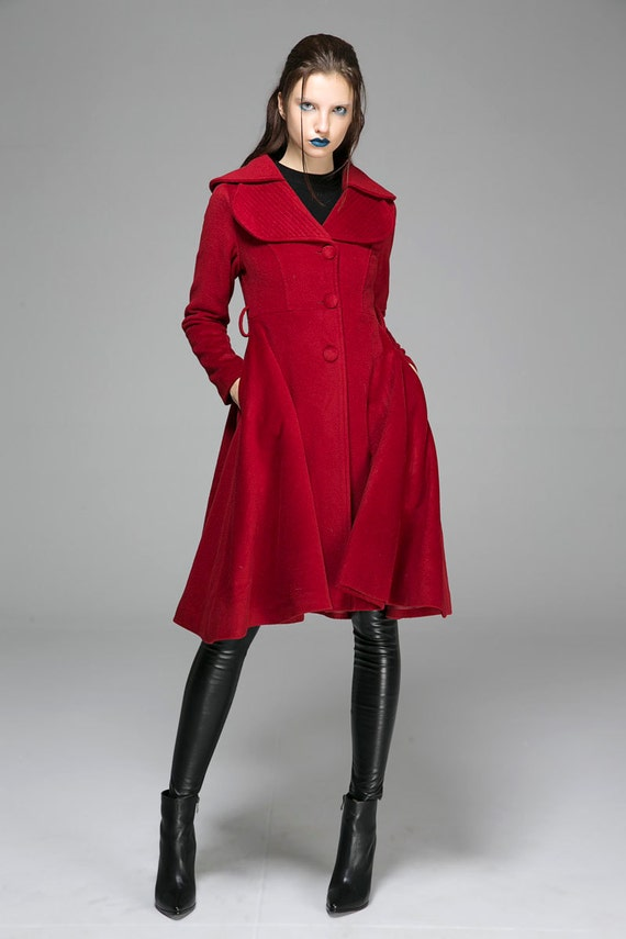 Red coat wool coat winter jacket outwear dress blazer