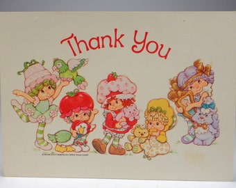 Free Shipping, 1982 Strawberry Shortcake Thank You Postcard, American Greetings, Cherry Cuddler,Lime Chiffon, Butter Cookie, Angel Cake