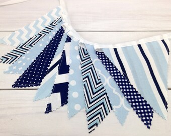 Bunting Fabric Banner, Fabric Flags, Boy Nursery Decor, Birthday Decoration - Baby Blue,Navy Blue,Chevron,Dots,Light Blue