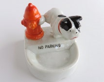 Vintage Mid Century No Parking Dog with Fire Hydrant Ashtray, 1950s Figural Pooch Novelty Dish, Canine Figurine