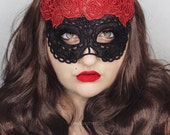 Calavera red rose embroidered lace mask