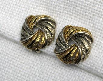 Signed ART Earrings Vintage 50s Costume Jewelry Swirled Two Tone Metal