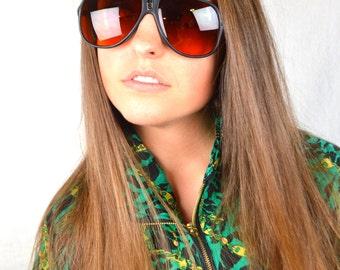 Vintage Amber Aviator Retro Blublocker Sunglasses - Taiwan ROC