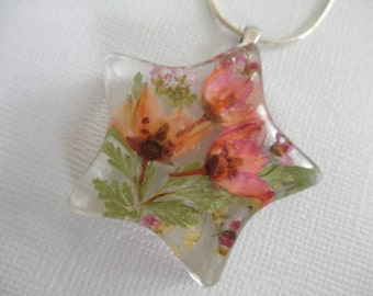 Spring Tulips-Ombre Pink Boronia, Pink  Alyssum, Queen Anne's Lace Pressed Flower Star Pendant-Symbolizes Admiration, Peace-Gifts Under 30