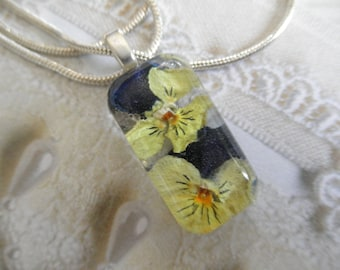 Tiny Yellow, Purple, Hint of Orange Pansies Small Glass Rectangle-Pendant-Gifts Under 25-Nature's Wearable Art-Symbolizes Loyalty