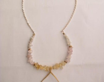 Hourglass Agate Bohemian Bridal Necklace with Moonstone, Rose Quartz, and Citrine Stone - Pastel Wedding Necklace