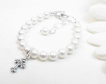 Christening or Baptism Bracelet - Real Freshwater Pearl Bracelet for Girl, Toddler or Baby