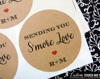 Smore Love stickers, choose size and color, envelope seals, favor stickers, custom wedding stickers, kraft labels, rustic labels (S-90)