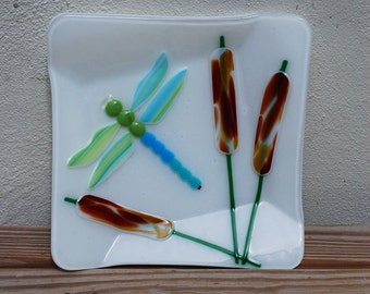 Fused Glass, Dragonfly, Dragonflies, Bowl, Cat Tails, Pussy Willow, Square, Unique, Glass, Stained Glass, Glass, Fine Art, Serving, Handmade