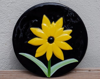 Fused Glass, Sunflower, Maryland, Yellow, Black, Trivet, Unique, Glass, Stained Glass, Gift, Gift Idea, Frit, Fine Art, Serving, Handmade