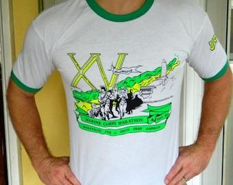 USMC 1990 Marine Marathon vintage ringer t-shirt - soft and thin vintage tee size large
