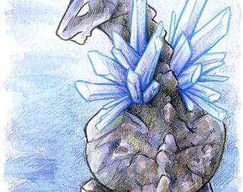 30 Days of Dragons - Stone Dragon - Original Mixed Media Painting