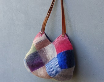 Knitted Felted Wool Bag Ombre Rainbow Checked Purse