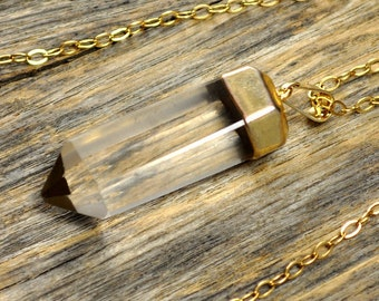 Crystal Necklace, Crystal Pendant Necklace, Crystal Gold Necklace, Straight Crystal Point Necklace, 14k Gold Filled