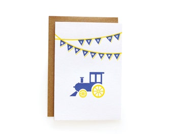 Letterpress Birthday Invitations, Train - set of 8