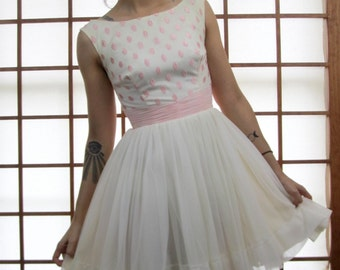 Vintage 50's Chiffon Mini Dress Embroidered Party Full Skirt XS