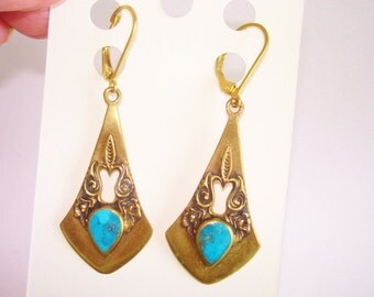 Turquoise  Dangle Gold Plate Earrings
