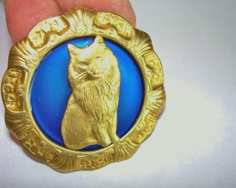 Cat Brooch Royal Blue Gold Tones  KL Design