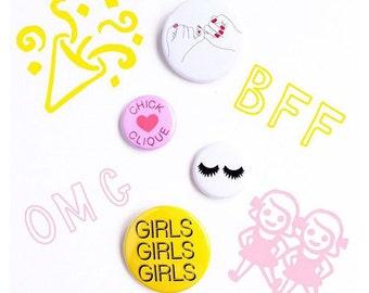 Button Flair Pack - Chick Clique - Set of 4