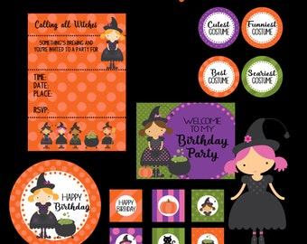 Halloween Party, Printable Witch Birthday Party Kit, Halloween Party, Instant Download