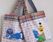 Sesame Street Reads Upcycled Tote - Classic Muppet Cartoon Novelty Purse / Diaper Bag / Child Bag - Eco Friendly Kid - Retro Fun Kitsch Gift