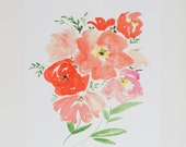 Watercolor Art Print - Coral Peonies & Poppies - Floral Print  - 8 x 10