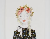 Girl with Flower Crown - Fashion Illustration - Floral Prints  - 8 x 10  - Illustration - Art Print