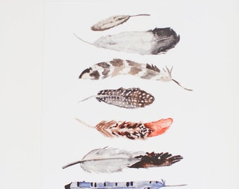 Watercolor Feathers - Art Print - 8 x 10