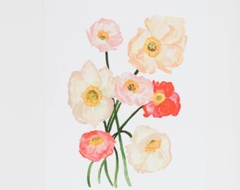 Poppy Love - 8 x 10 - Watercolor - Illustration - Art Print