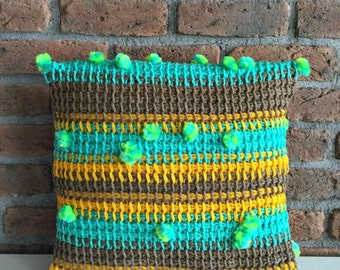 Hand Knitted Throw Pillow Cover Turquoise Yellow Brown Neon Green Striped Pillow Case Stripe Throw Pillow Crochet Pillow Decorative Boho