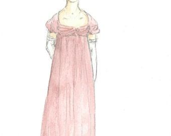 Regency Heroine 5x7 Original Watercolor.  Jane Austen art.